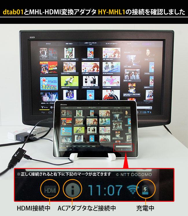 dtab 01とMHLケーブル-HDMI変換アダプタ HY-MHL1の接続を確認しました