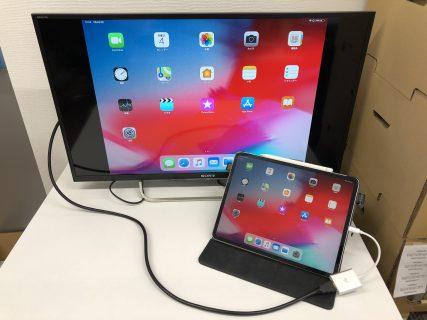 iPad Pro 12.9インチ 第3世代(A1876、A1895、A2014)の画面をType-C to HDMI 変換アダプタを使いミラーリング動作確認しました