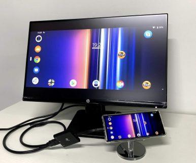 Xperia1をHDMI接続し、ミラーリング動作(HDMI出力)を確認しました (Type-C USBハブ HY-TCHD3)