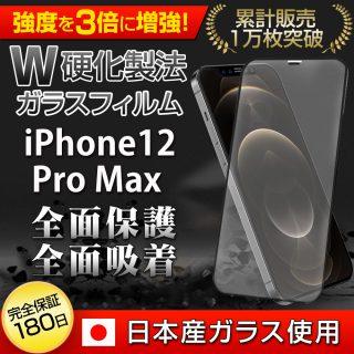 Hy+ iPhone12 Pro Max フィルム ガラスフィルム W硬化製法 一般ガラスの3倍強度 全面保護 全面吸着 日本産ガラス使用 厚み0.33mm ブラック