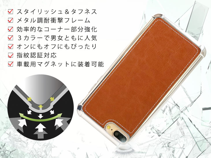 iPhone7 Plus、iPhone8 Plus (アイフォン8 プラス) 耐衝撃ケース ビンテージPU仕上げ (カーマウントプレート、ストラップホール付き)