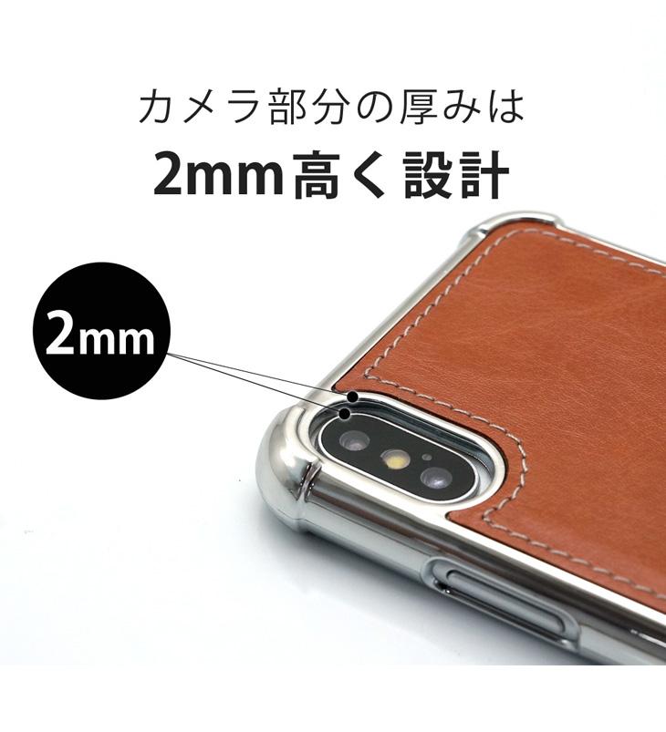 iPhone X (アイフォンX) 耐衝撃ケース ビンテージPU仕上げ (カーマウントプレート、ストラップホール付き)