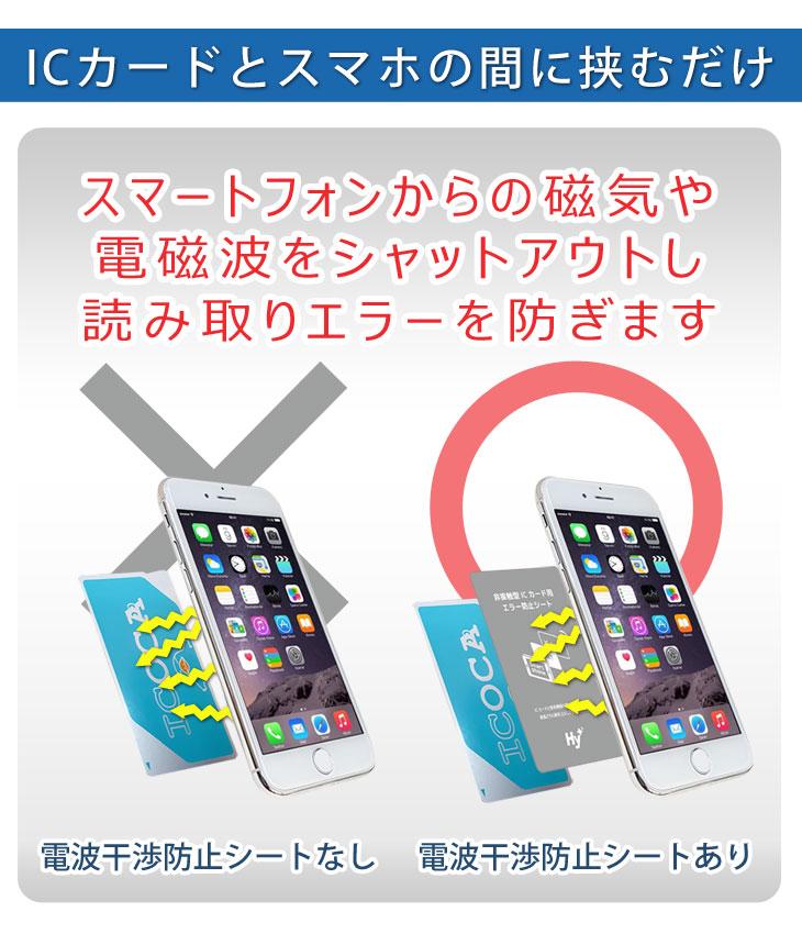 Hy+ ICカード用 スマートフォン 磁気、電波干渉防止シート