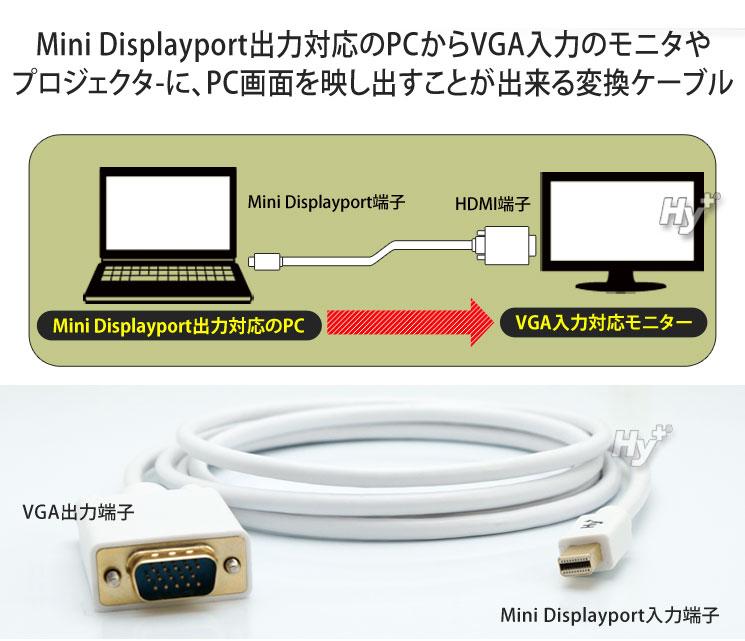 Hy+ Mini Displayport(ミニディスプレイポート) to VGA 変換ケーブル 1.8m HY-MDPVGA1