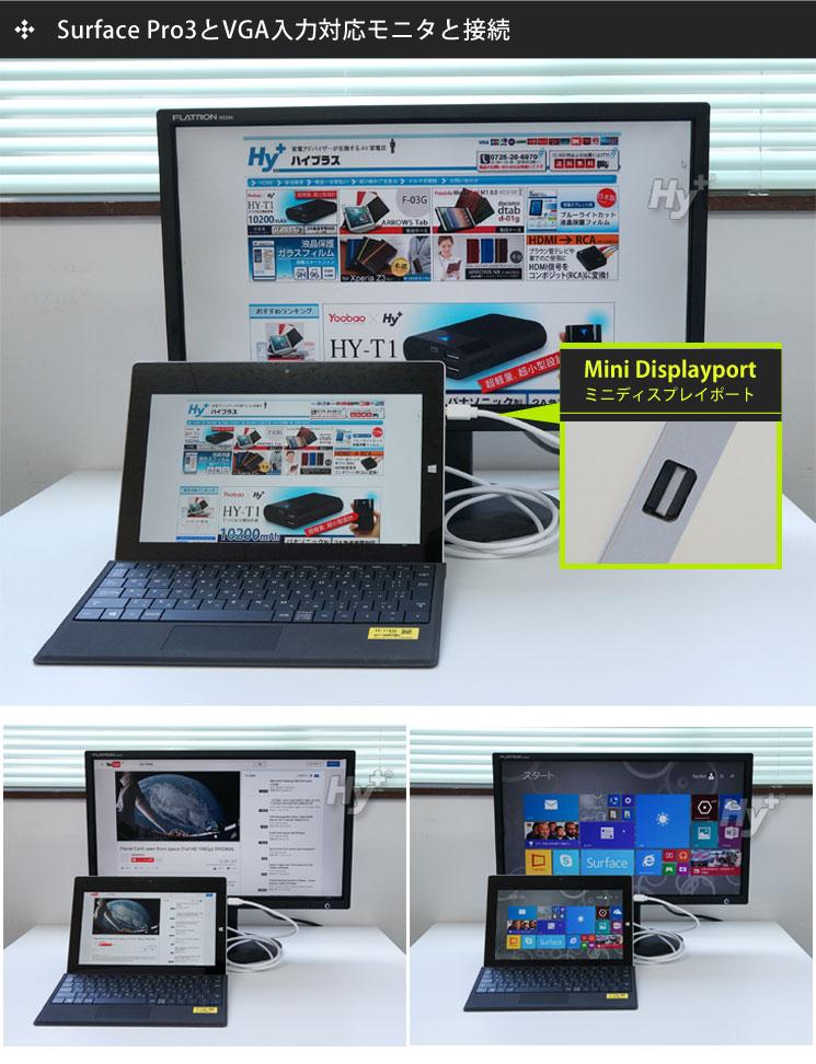 HY-MDPVGA1を使ってSurface Pro3の画面をVGA入力対応モニタに映しだしてみました