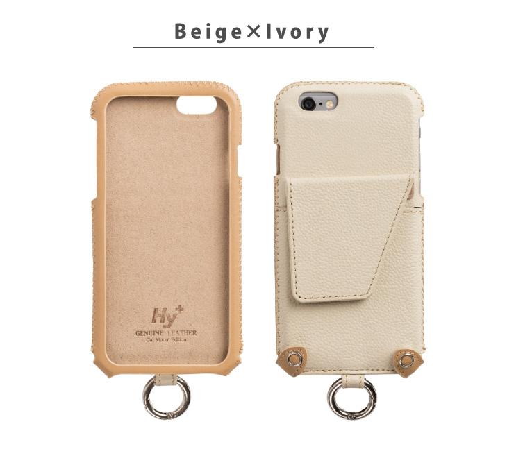 Hy+ iPhone6、iPhone6s 本革レザーケース (ICカードホルダー、カーマウントプレート内蔵、スタンド機能付き)